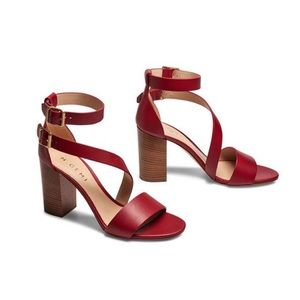 M. GEMI Spirale Red Block High Heel Sandal sz 39.5